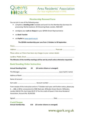 Qpara membership renewal form revised 14 05 15 by Queen's Park Area