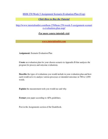 Hsm  Week  Assignment Scenario Evaluation Plan By Pbpbpbpbpb  Issuu