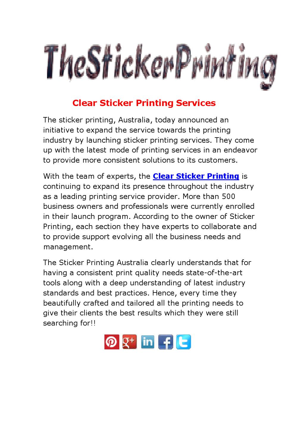 Clear sticker printing services by the sticker printing issuu