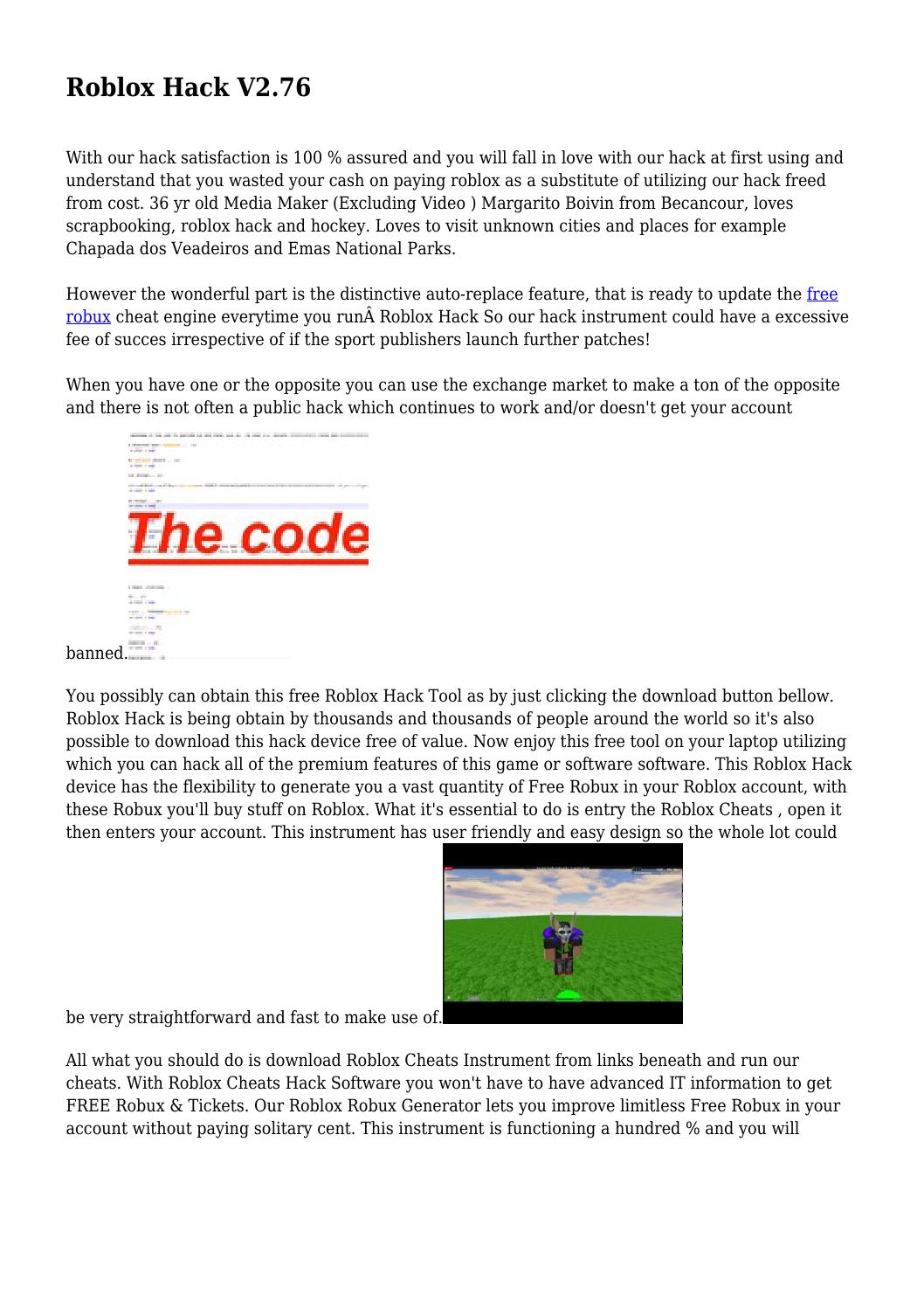 Roblox Hack V276 By Whitneybjjihnoovj Issuu - roblox robux generator 100 working roblox hack free robux