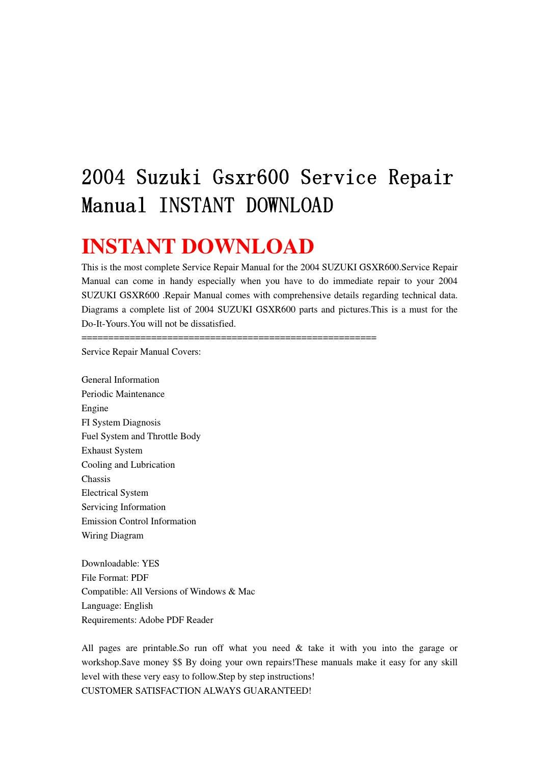 suzuki gsxr 600 wiring diagram 2004 suzuki gsxr600 service repair manual instant download by  2004 suzuki gsxr600 service repair