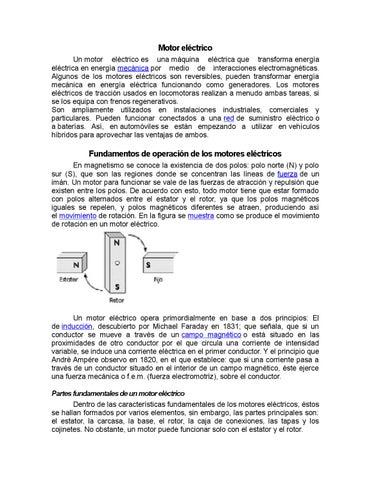 089c39be34f Motor eléctrico Un motor eléctrico es una máquina eléctrica que transforma  energía eléctrica en energía mecánica por medio de interacciones ...