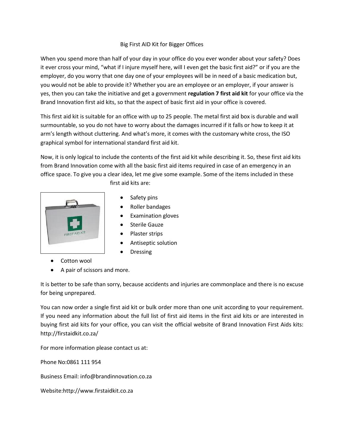 Regulation 7 First Aid Kit By First Aid Kit South Africa Issuu