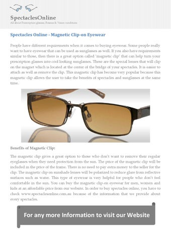 80b794fab0 Spectacles online magnetic clip on eyewear by SpectaclesOnline - issuu