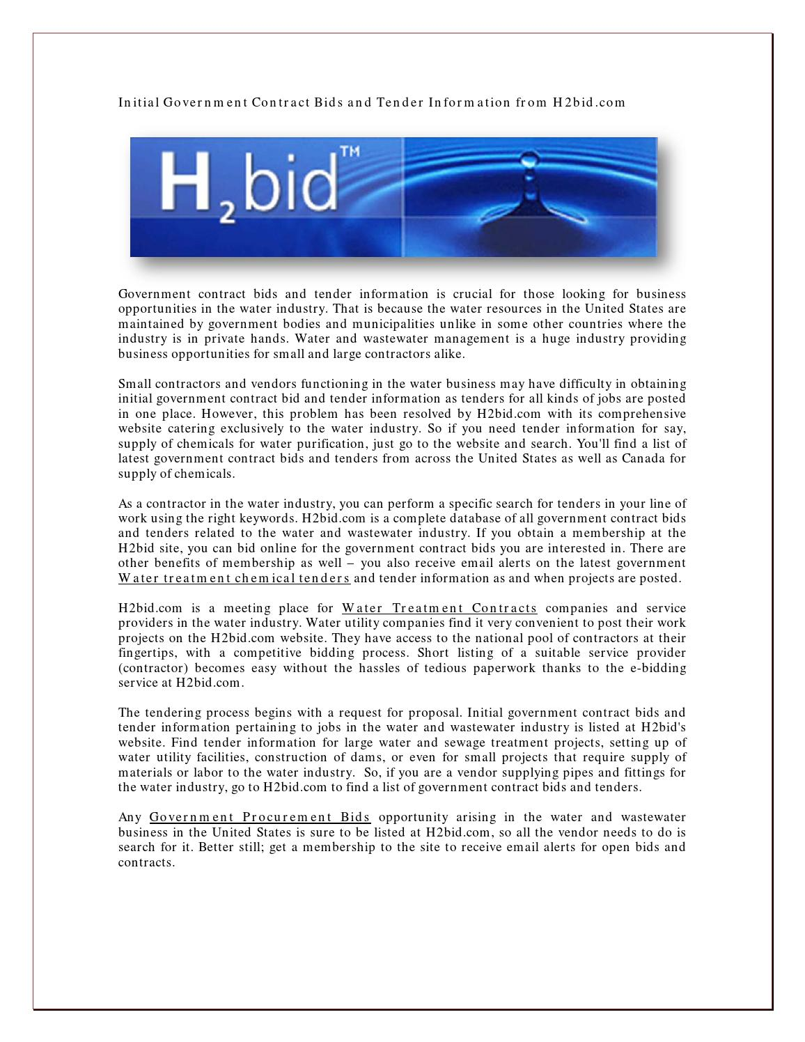 Initial Government Contract Bids And Tender Information From H2bid By Waterbid Issuu