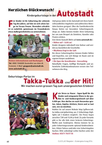 Clicclac Ratgeber Kindergeburtstag 2014 By Clicclac Stadtmagazin