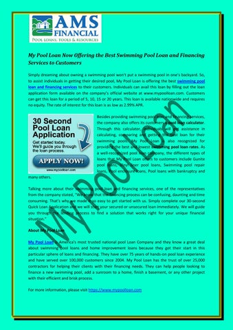 My Pool Loan Now Offering The Best Swimming Pool Loan And