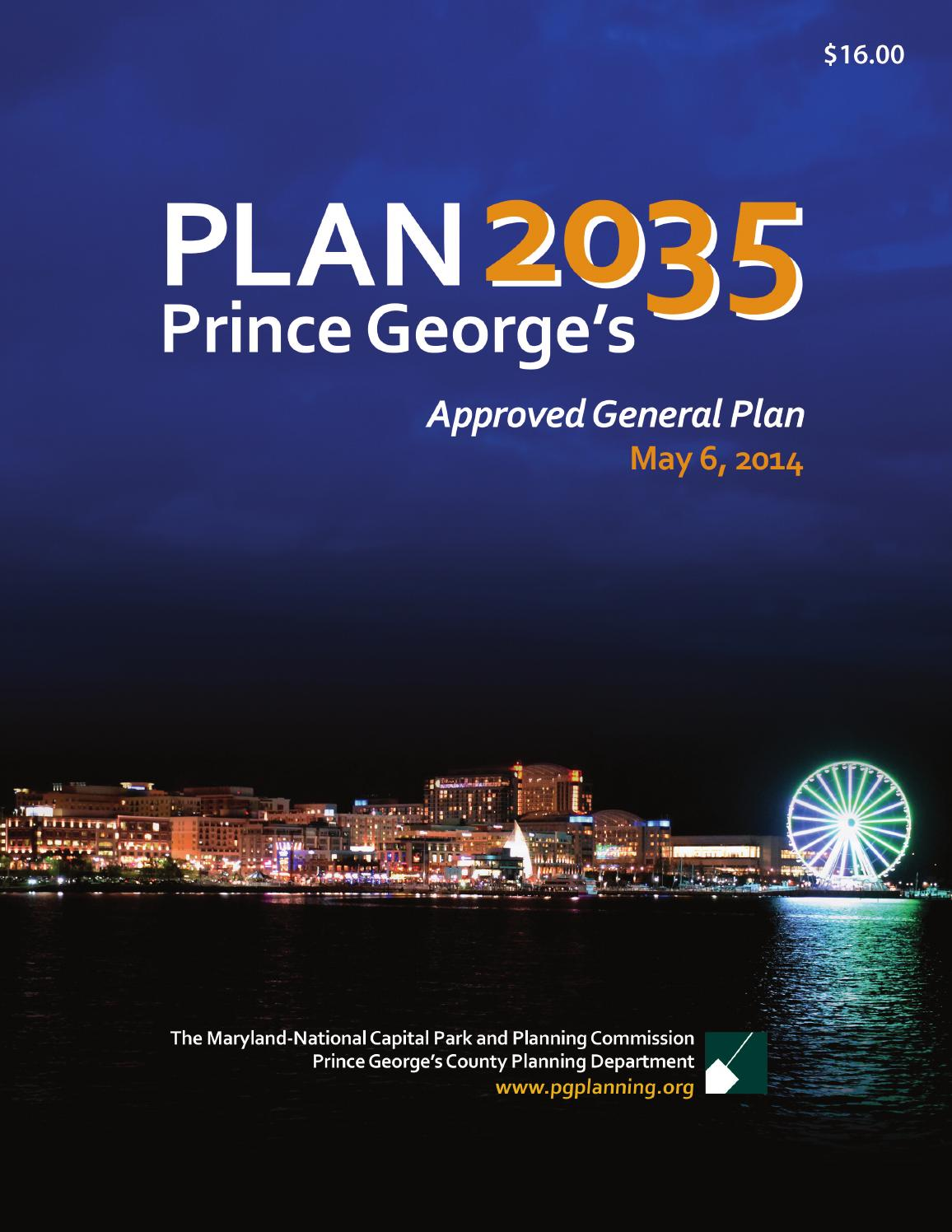 Plan 2035 Approved General Plan By Maryland National Capital Park