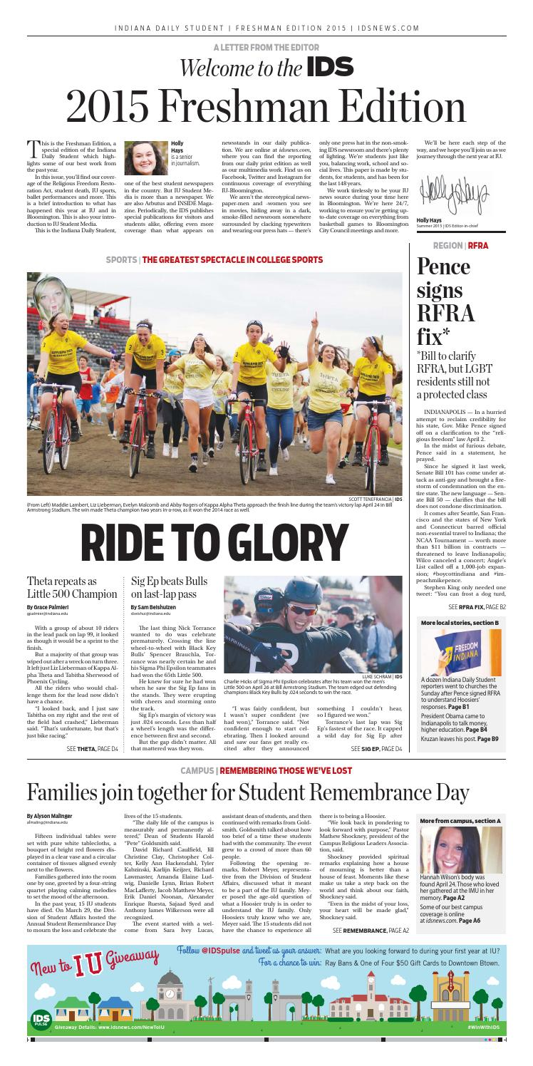 Freshman Edition 2015 by Indiana Daily Student - specials & guides - issuu