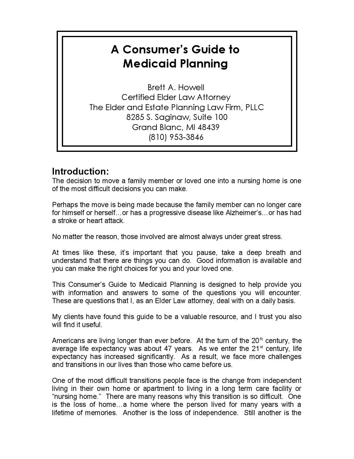 Consumers guide to medicaid planning by Elder and Estate Planning