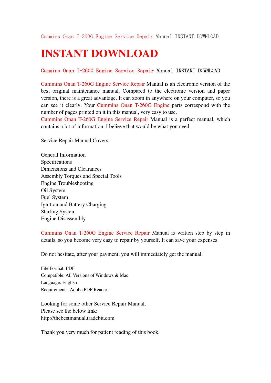 cummins onan t 260g engine service repair manual instant