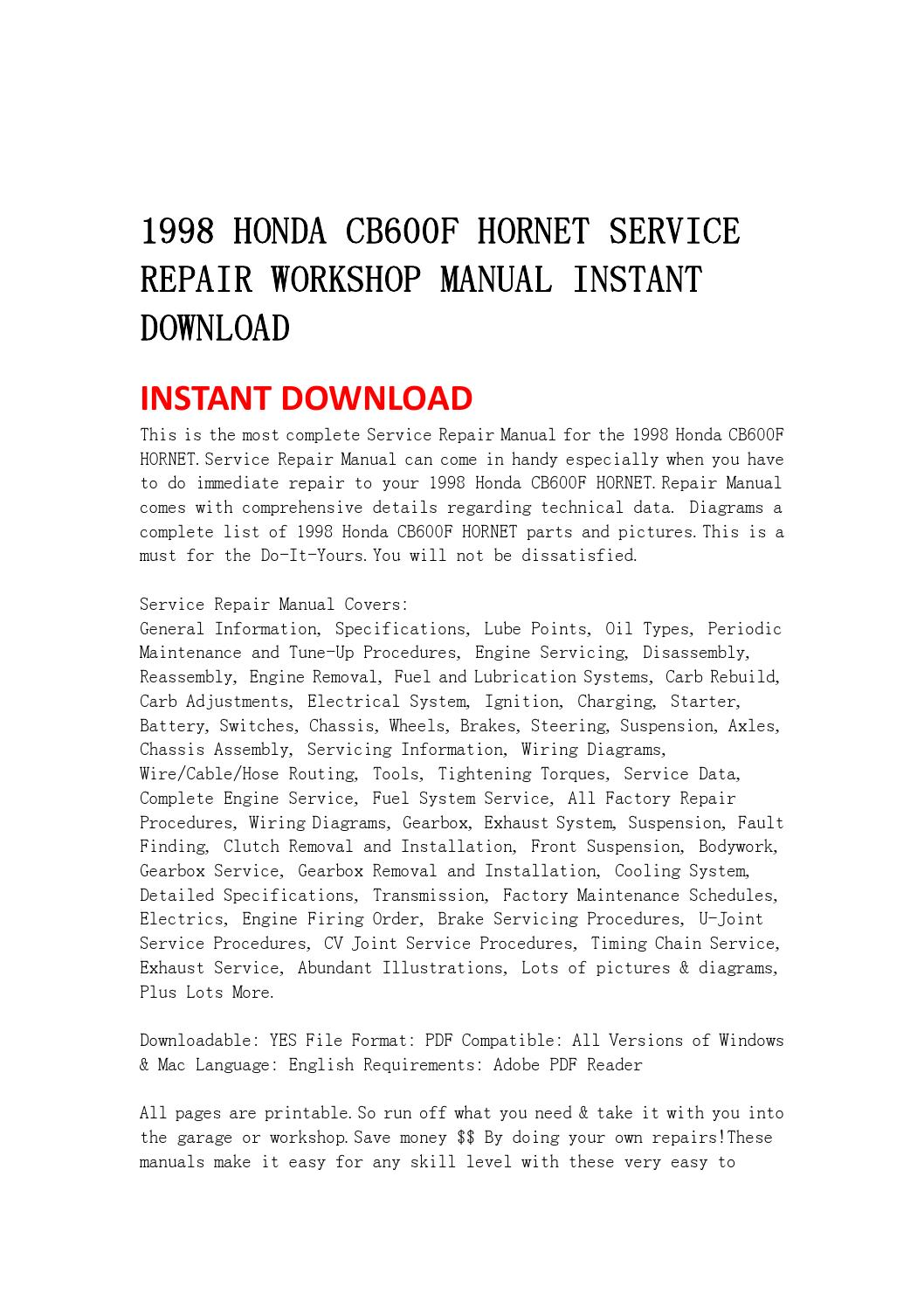 1998 Honda Cb600f Hornet Service Repair Workshop Manual
