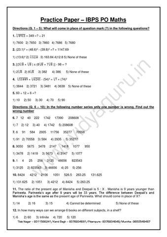 Practice Paper for IBPS PO Maths by vidyaguru - issuu