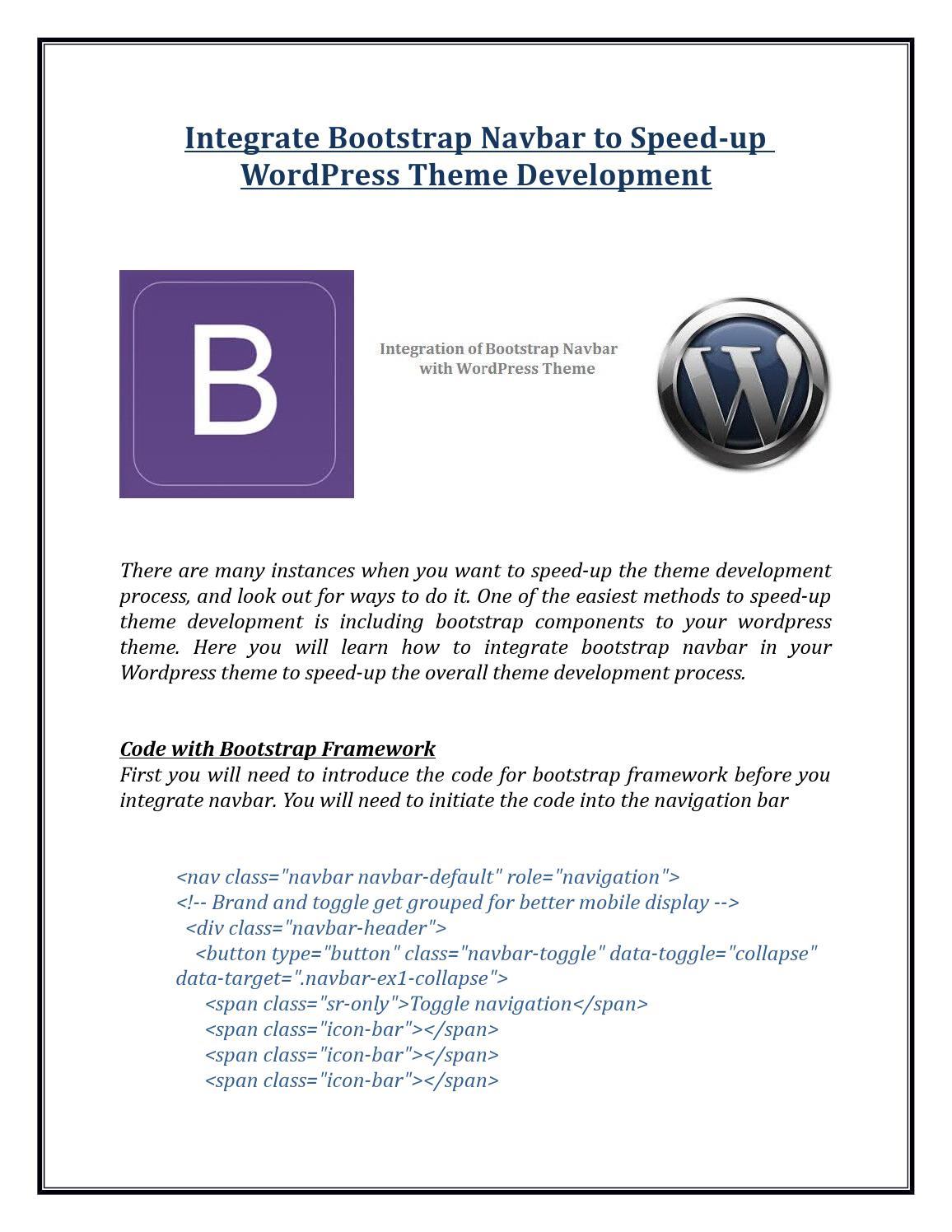 Integrate Bootstrap Navbar to Speed-up WordPress Theme ...