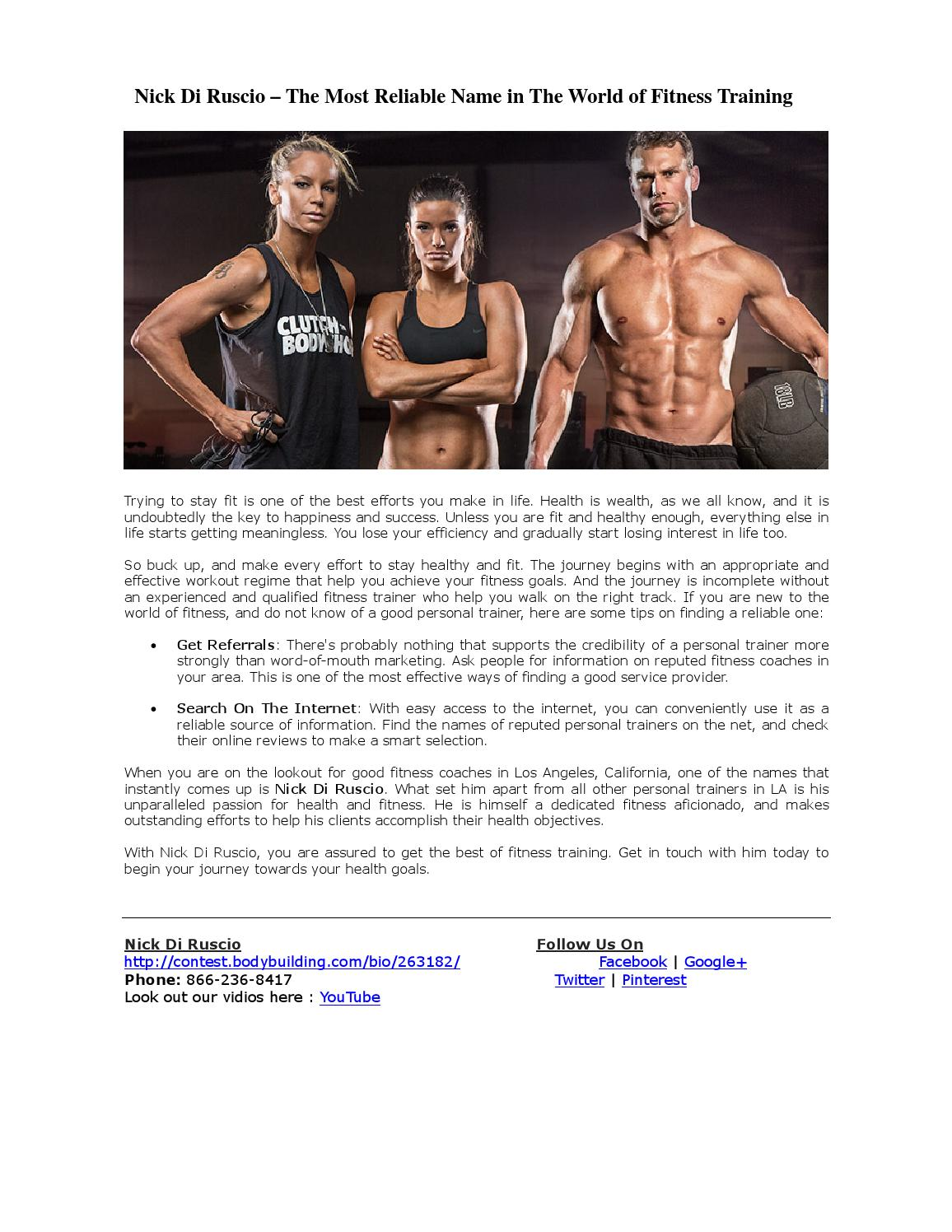 The Most Reliable Name In The World Of Fitness Training By Nick Di