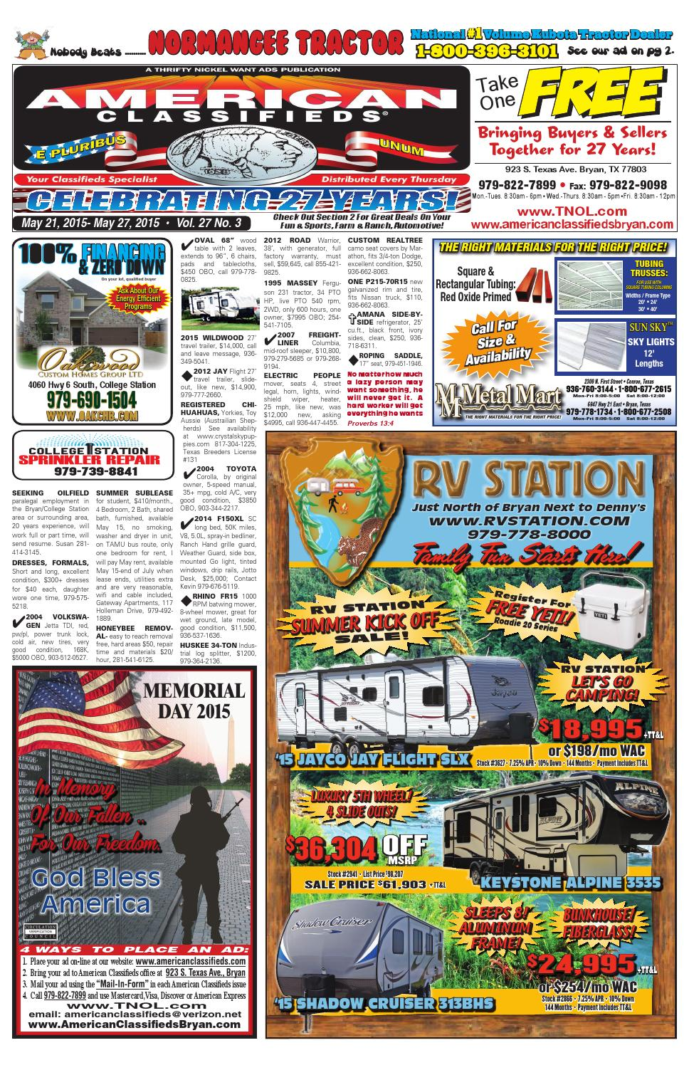 20d1738c2b9 American Classifieds May 21st Edition Bryan College Station by American  Classifieds - issuu
