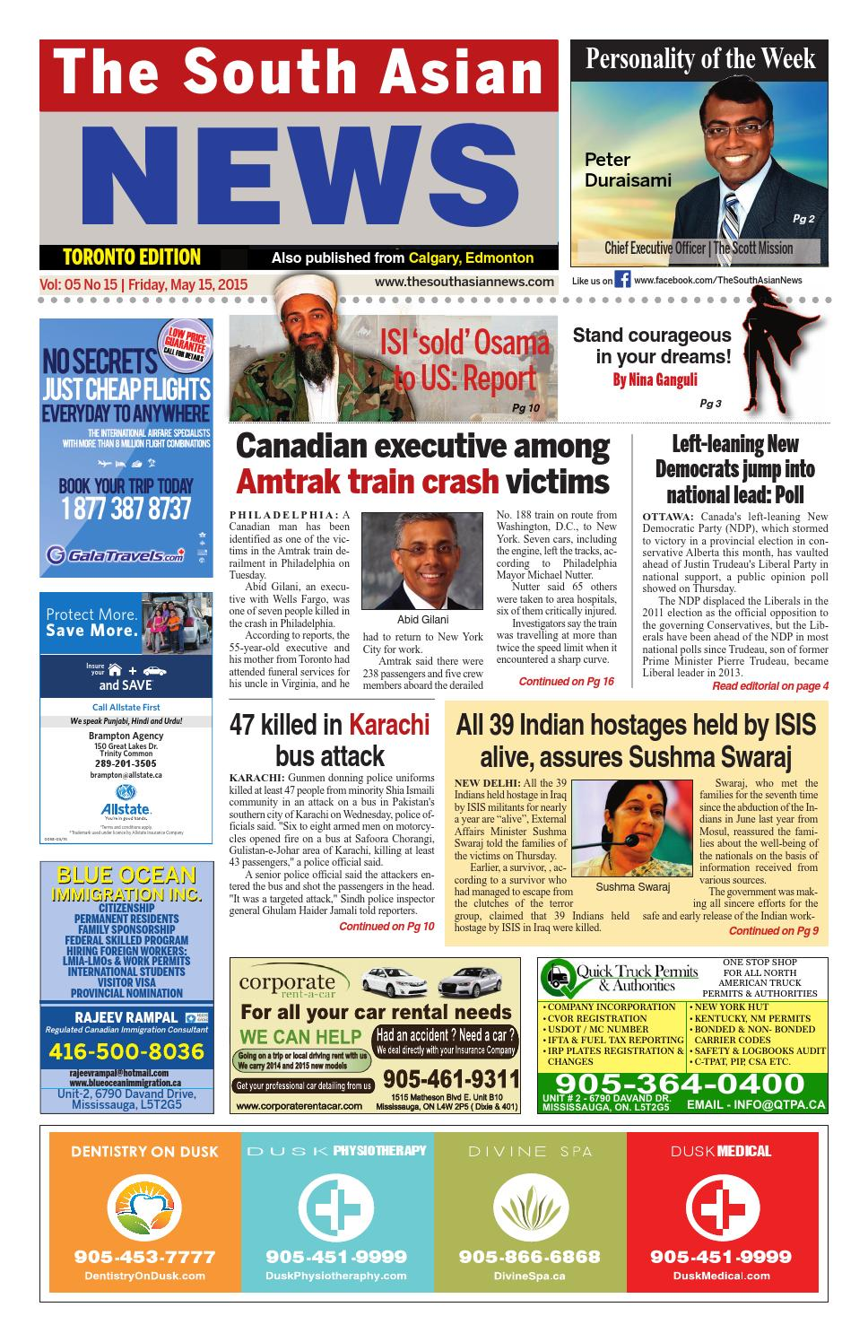 The South Asian News May15 ,2015 by The South Asian News (Toronto ...