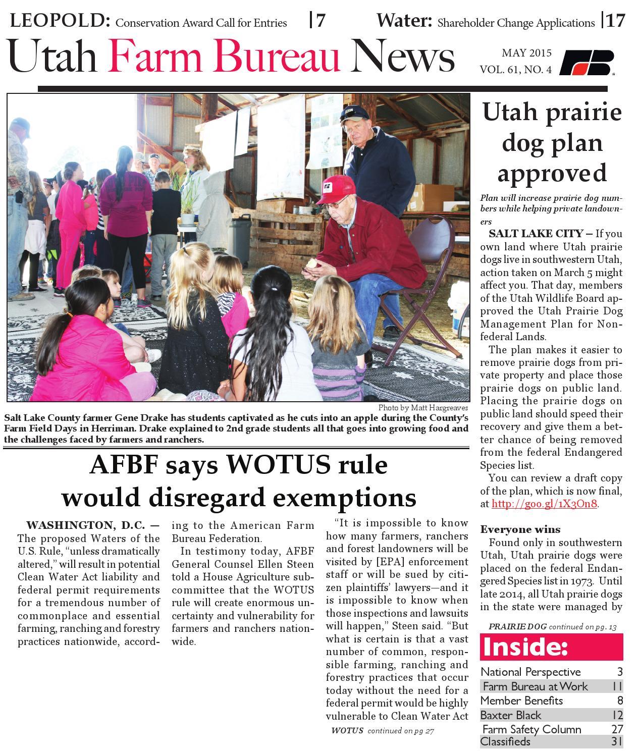 Utah Farm Bureau News - May 2015 by Utah Farm Bureau Federation - issuu