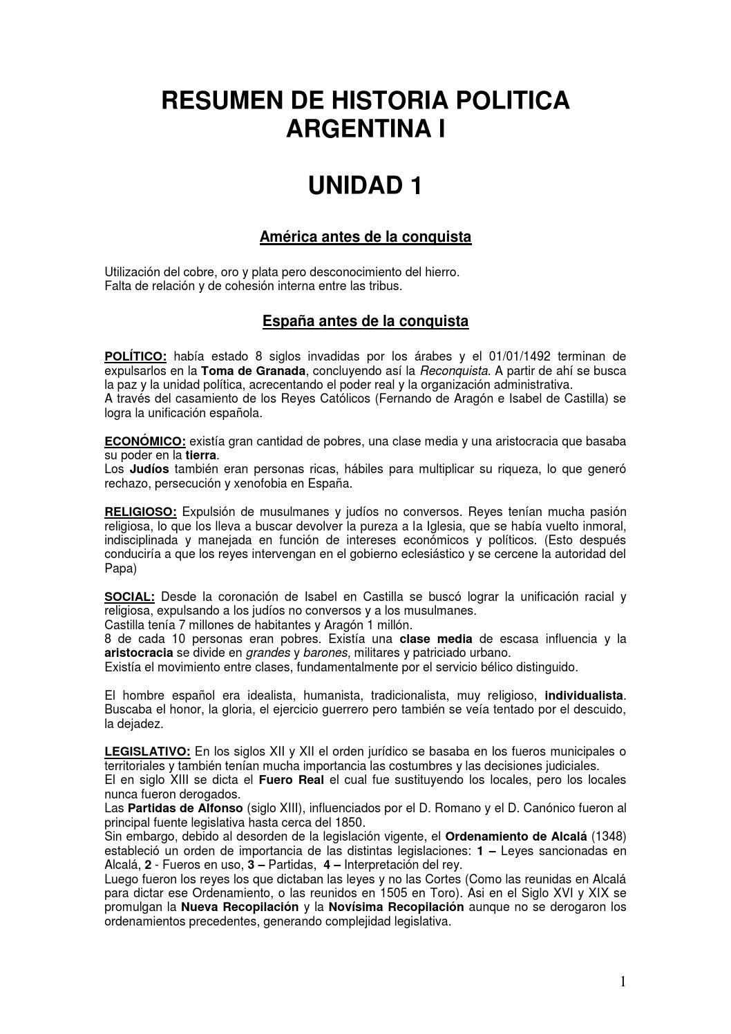 Resumen historia politica argentina i (1) by Agostina Bongiovanni ...