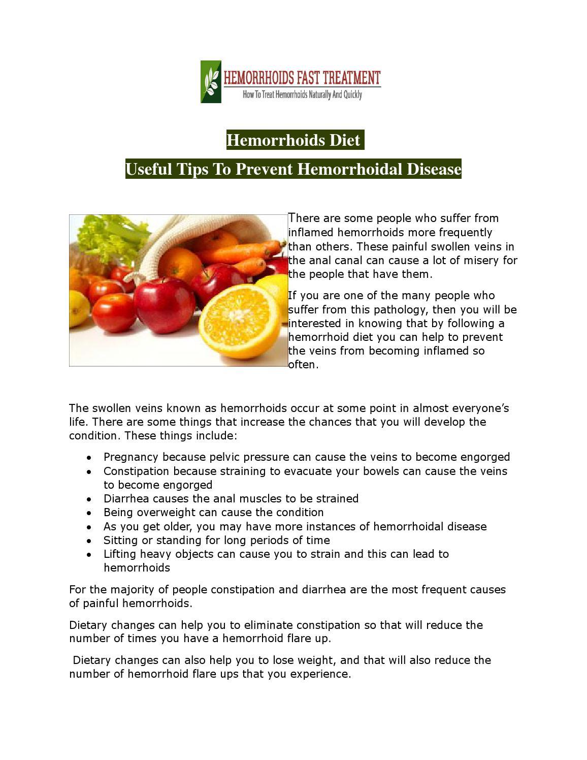 Diet for hemorrhoids