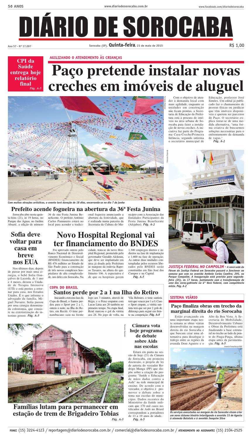 Edição de 21 de maio de 2015 by DIÁRIO DE SOROCABA - issuu a16bcf54a8436