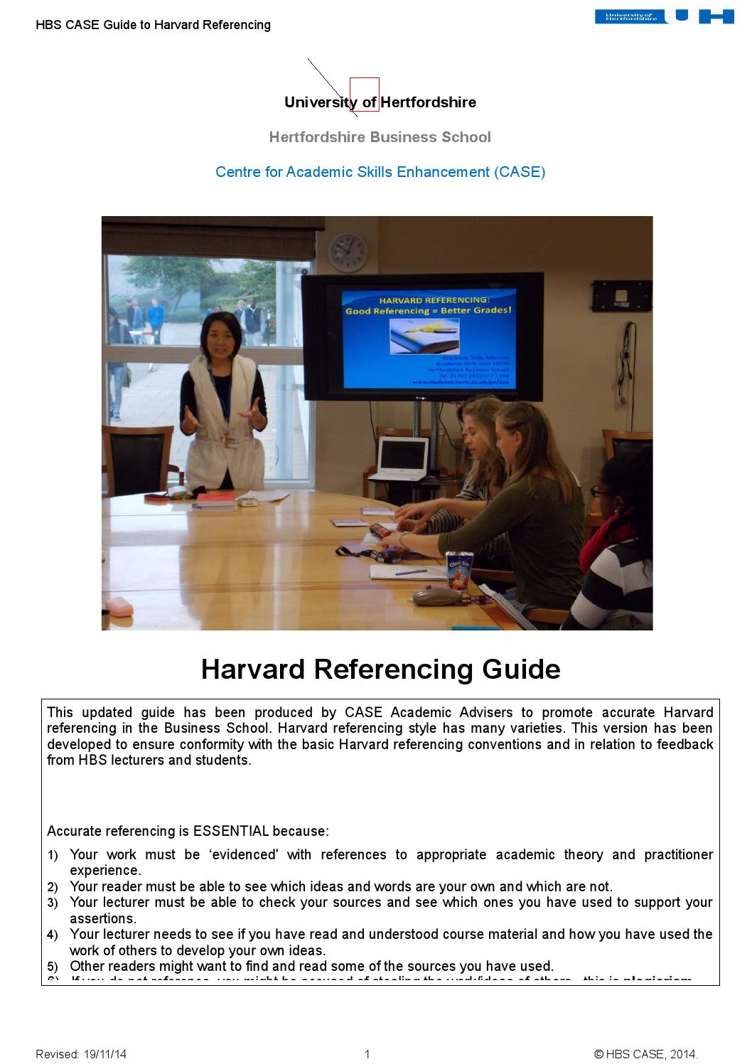 hertfordshire business school guide to harvard School harvard business school must reserve the right to make changes at any  time affecting policies,  hbs citation guide— 2017–18 academic year.