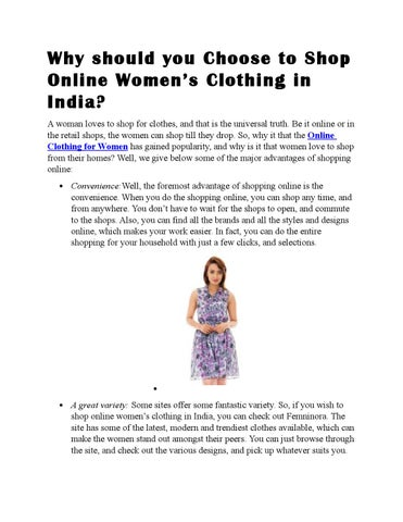 9869b8812 Why should you Choose to Shop Online Women's Clothing in India? A woman  loves to shop for clothes, and that is the universal truth.