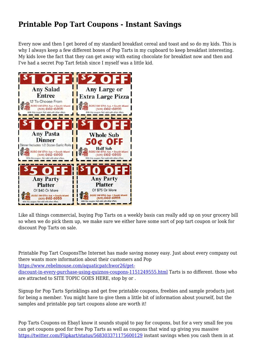 photo about Pop Tarts Coupon Printable identify Printable Pop Tart Discount coupons - Immediate Discounts by means of