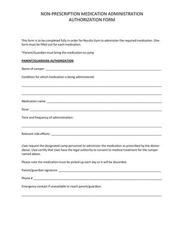 Non Prescription Medication Administration Authorization