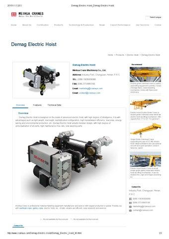 Demag electric hoist demag electric hoist / Overhead Crane @ http