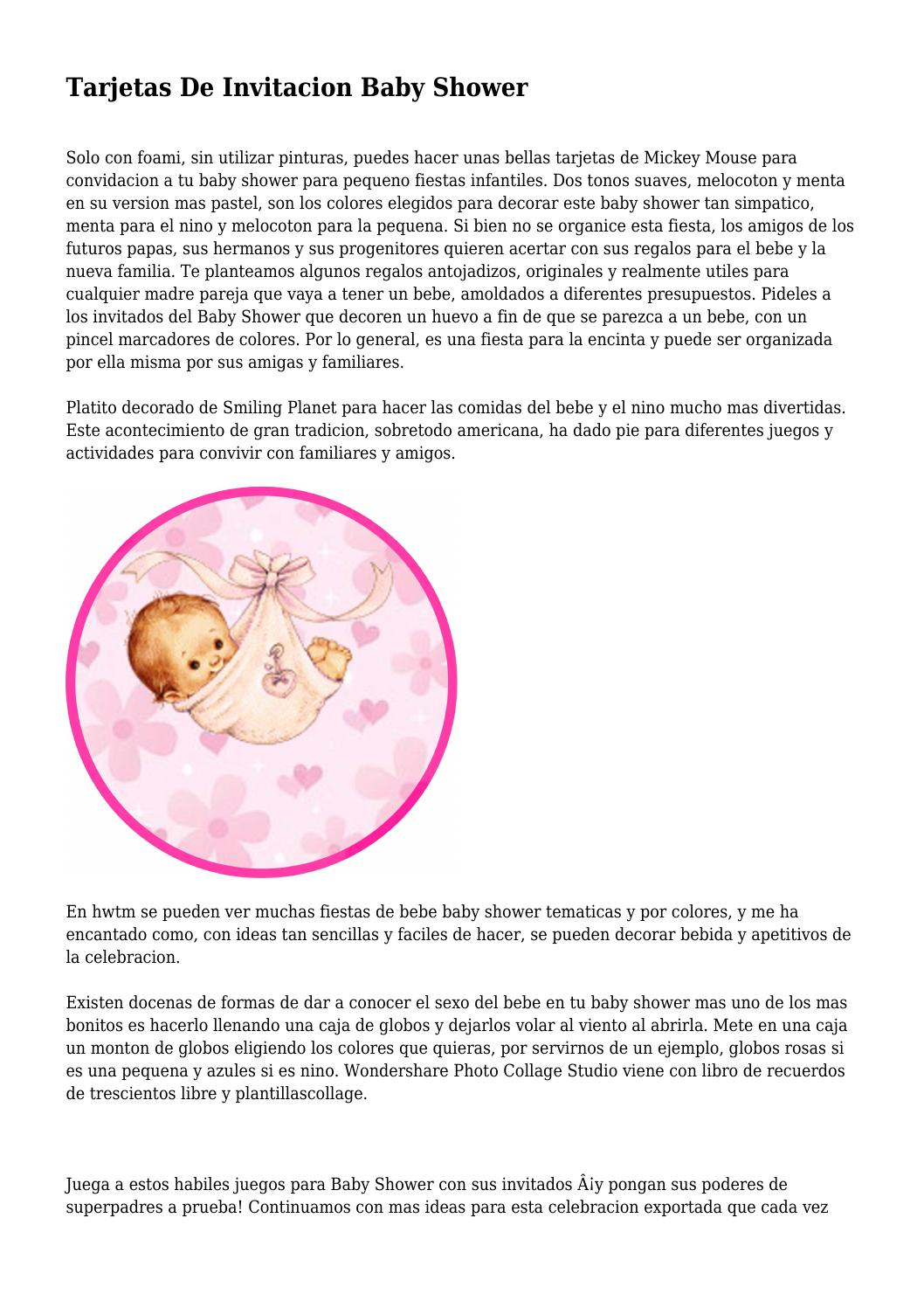 Tarjetas De Invitacion Baby Shower By Internalmystiqu68 Issuu