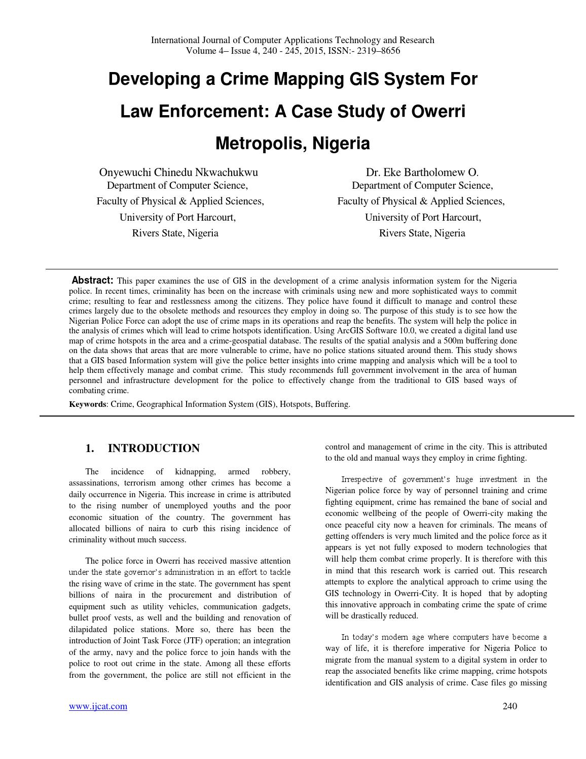 Developing a Crime Mapping GIS System For Law Enforcement: A