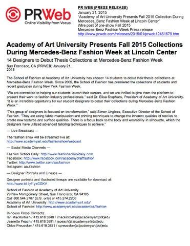 01 21 2015 PR WEB (PRESS RELEASE) by Academy Of Art