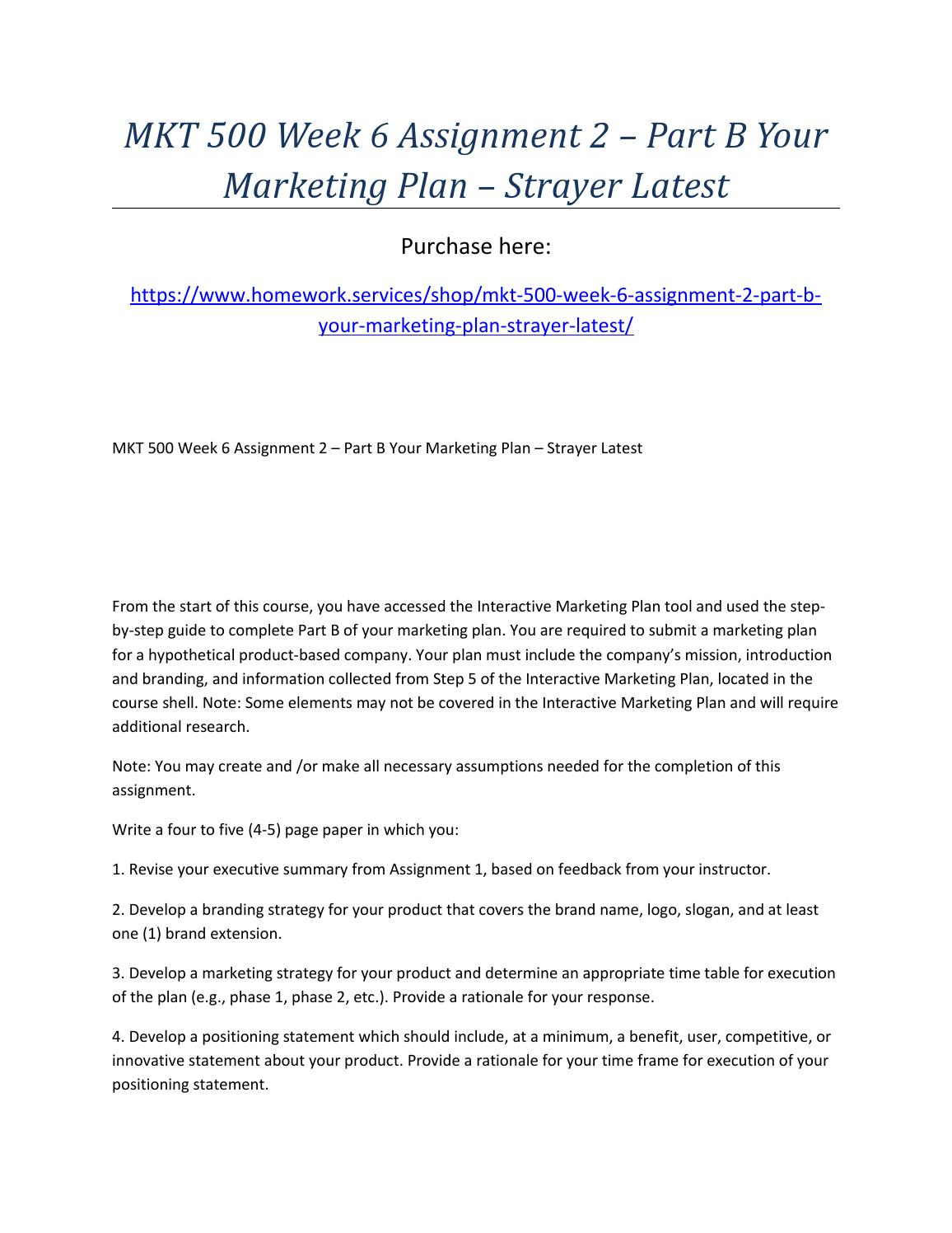 marketing plan assignment 1 mkt500