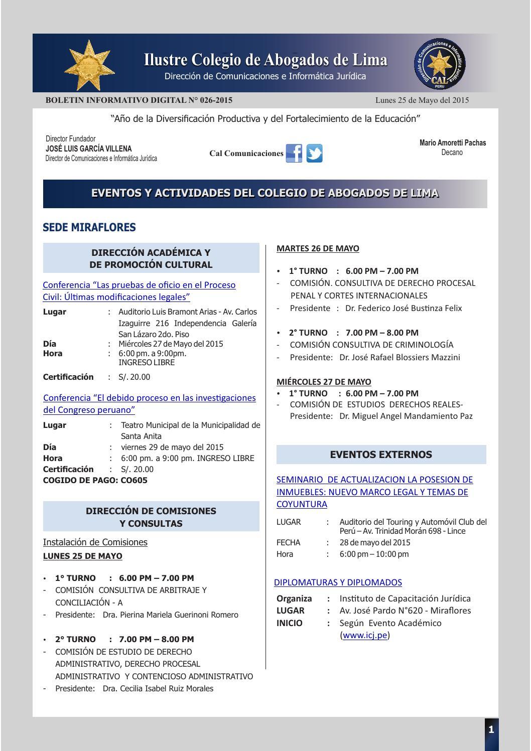 Boletin Informativo Digital 26 Cal By Colegio De Abogados