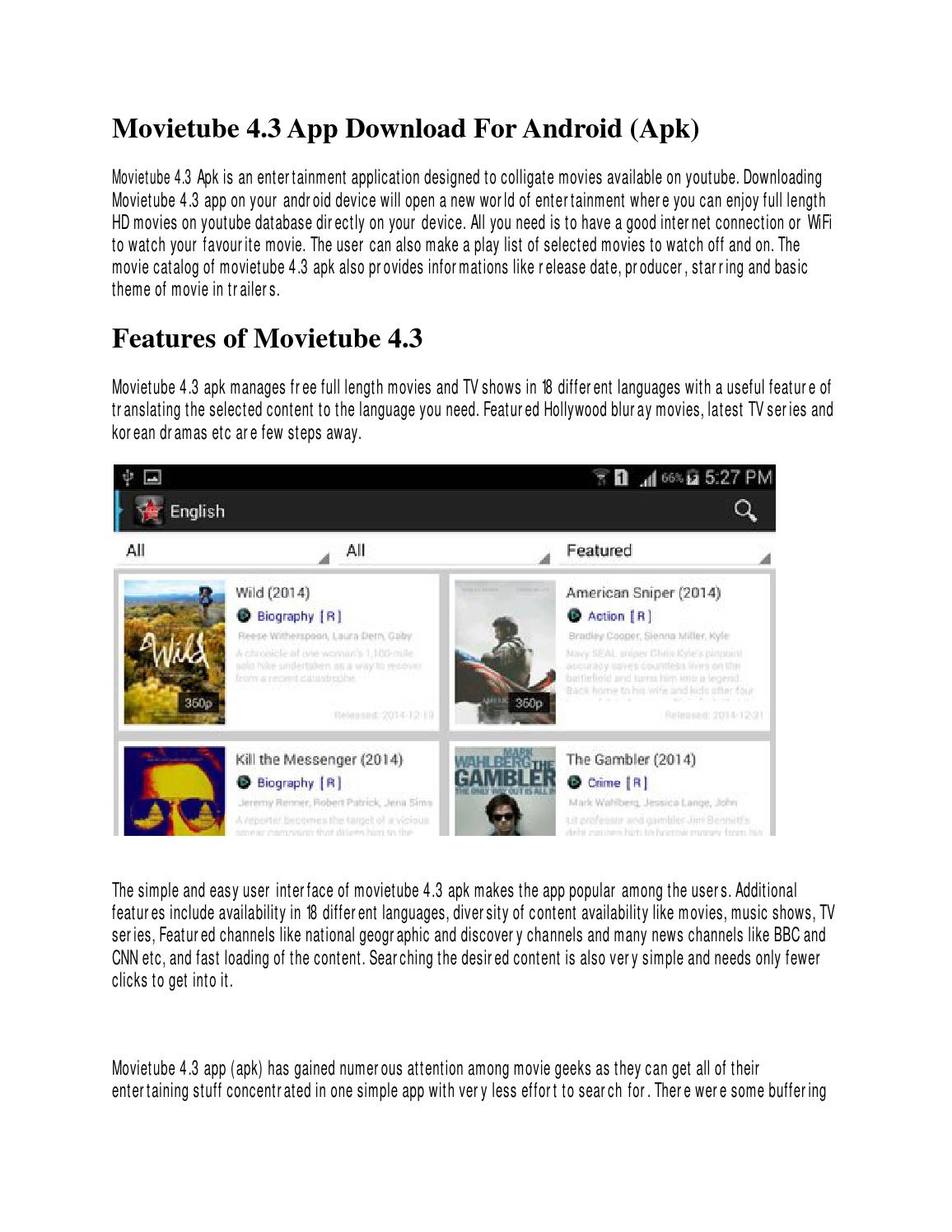 free movie tube app for android