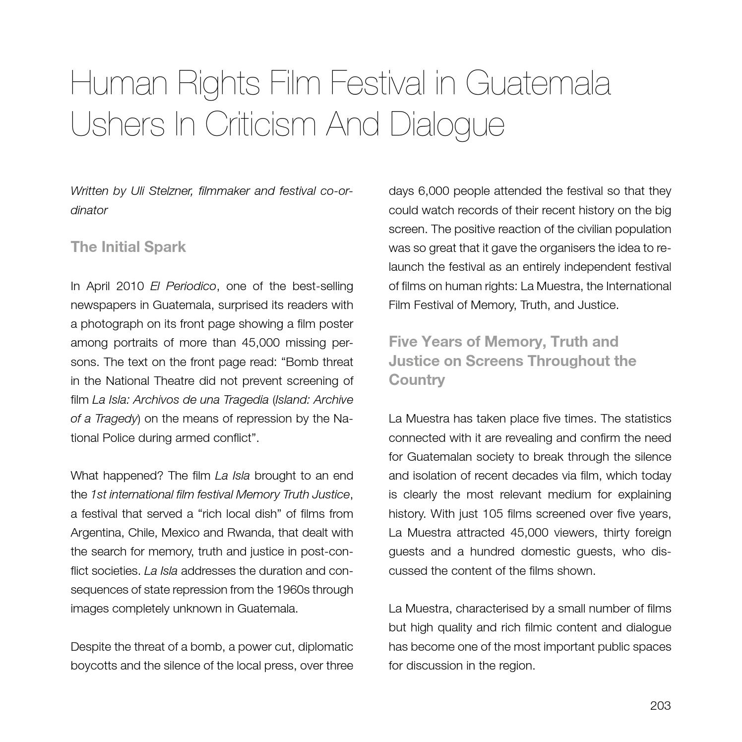 History Criticism: Human Rights Film Festival In Guatemala: Ushers In