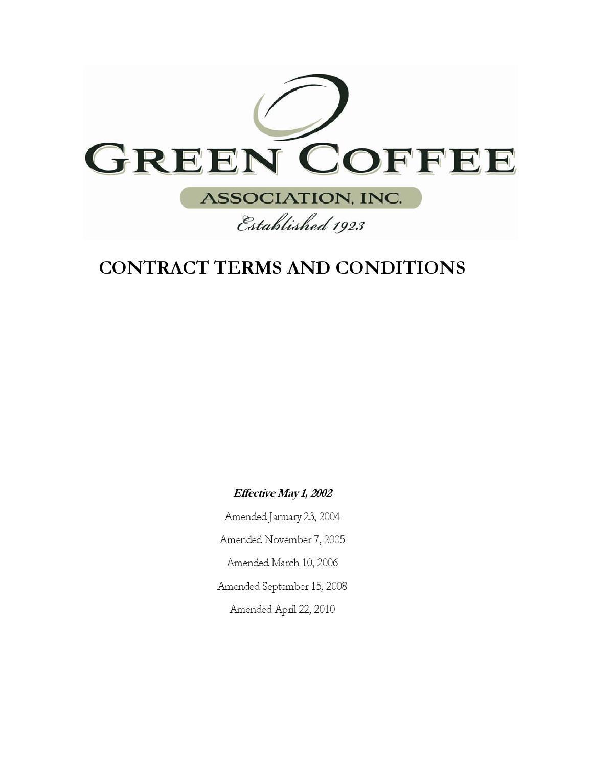 Green Coffee Association Contract 2010 by El Cafetalero - issuu