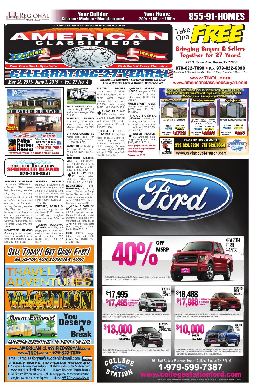 American Classifieds May 28th Edition Bryancollege Station By