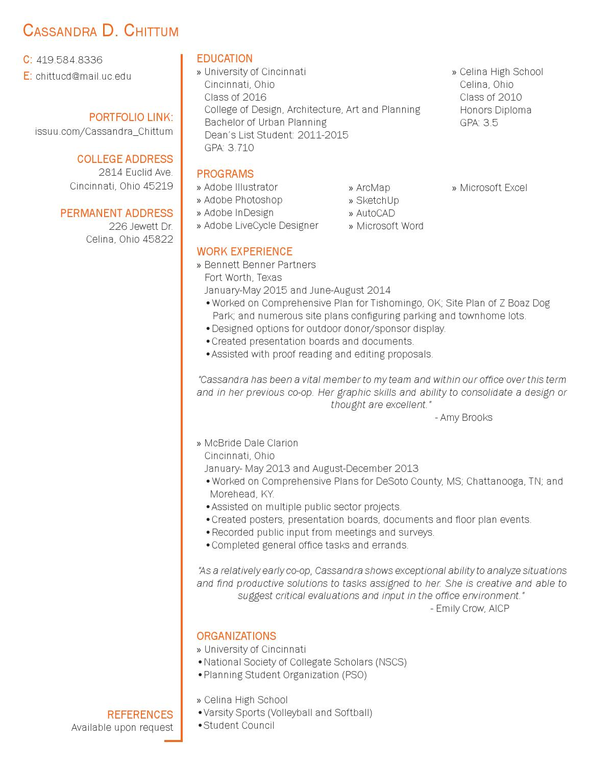 Resume by Cassandra Chittum - issuu