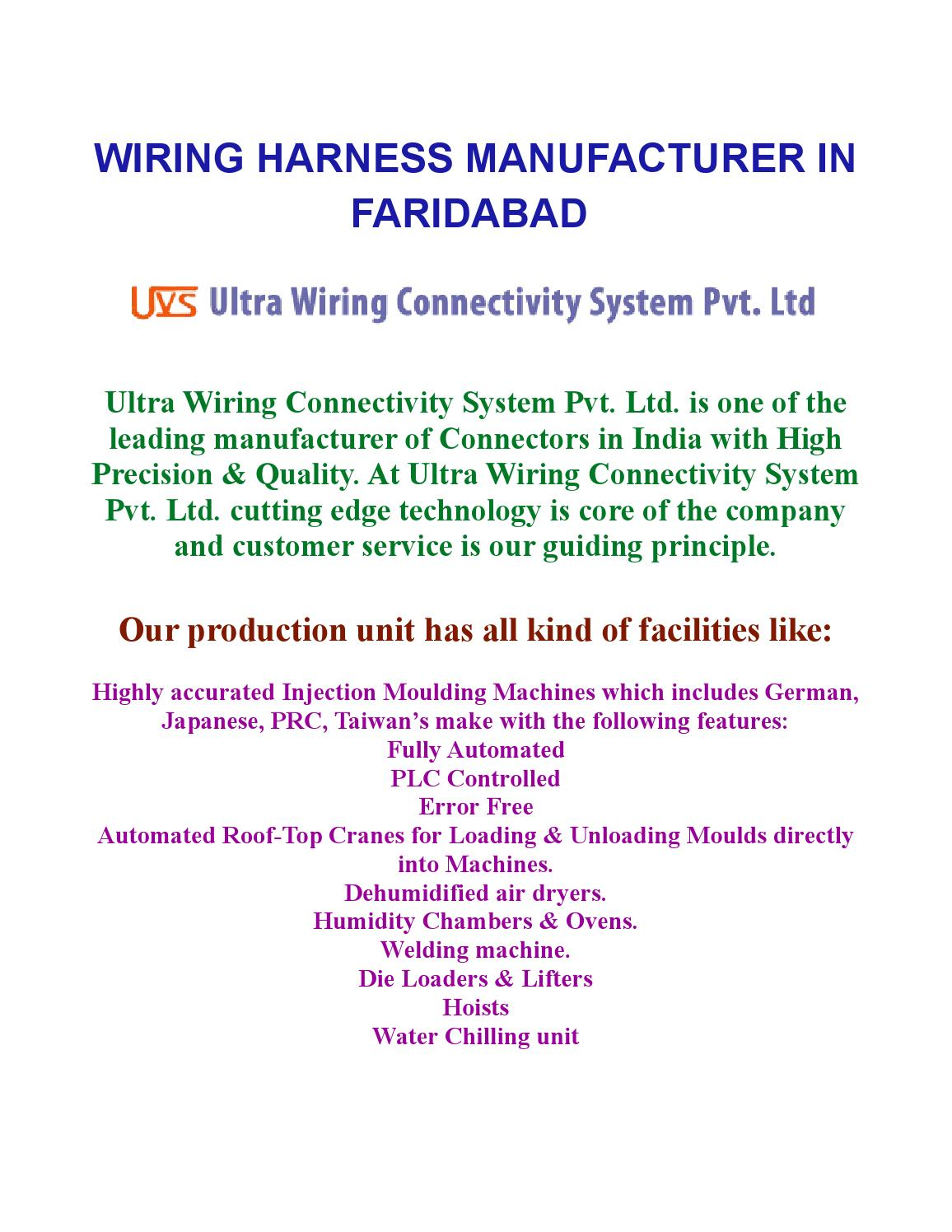 Wiring Harness Manufacturers In Faridabad By Nimmi Issuu Crane