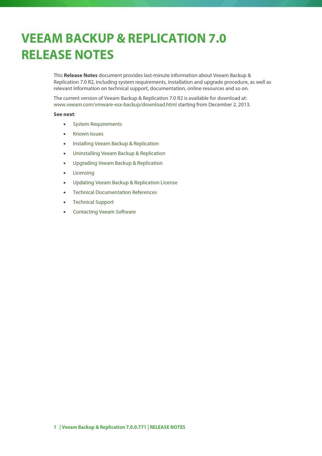 Veeam backup 7 0 release notes by danielegregori - issuu