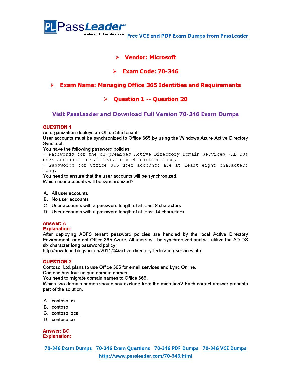 70-346 Exam Dumps with PDF and VCE Download (1-20) by PassLeader - issuu