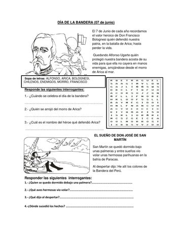 LA BANDERA DEL PERU FICHA DE APLICACION PARA EL SEGUNDO GRADO by ...