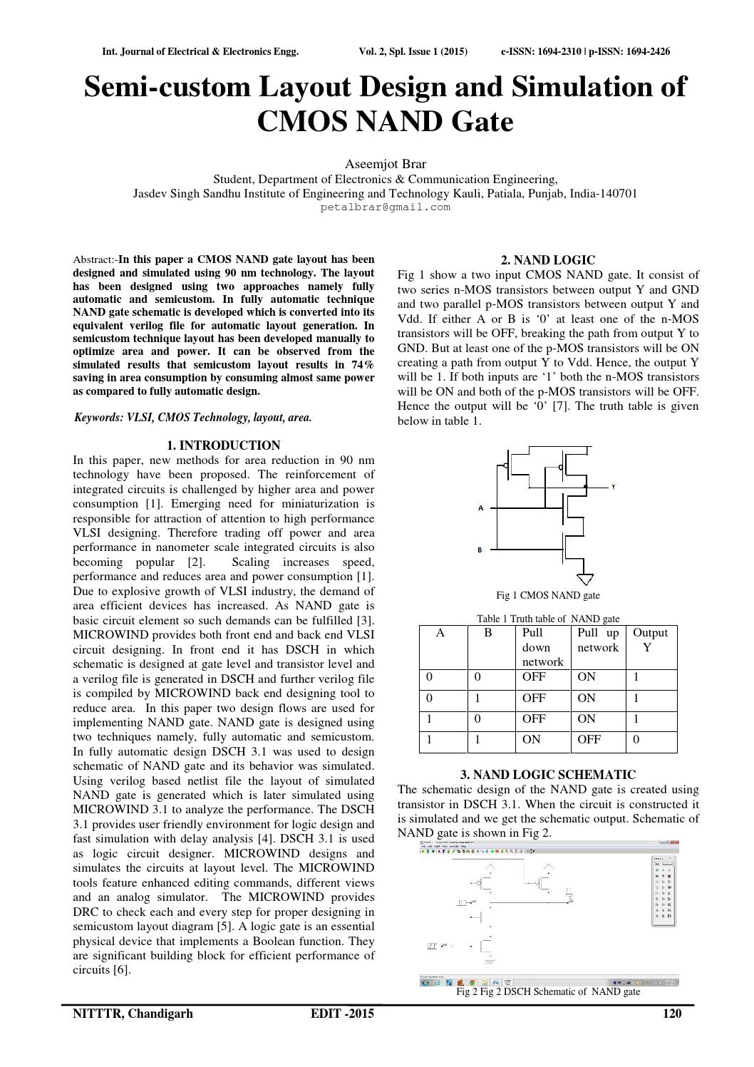 Semi Custom Layout Design And Simulation Of Cmos Nand Gate By Ijeee Microwind The Circuit Elixir Publications Issuu