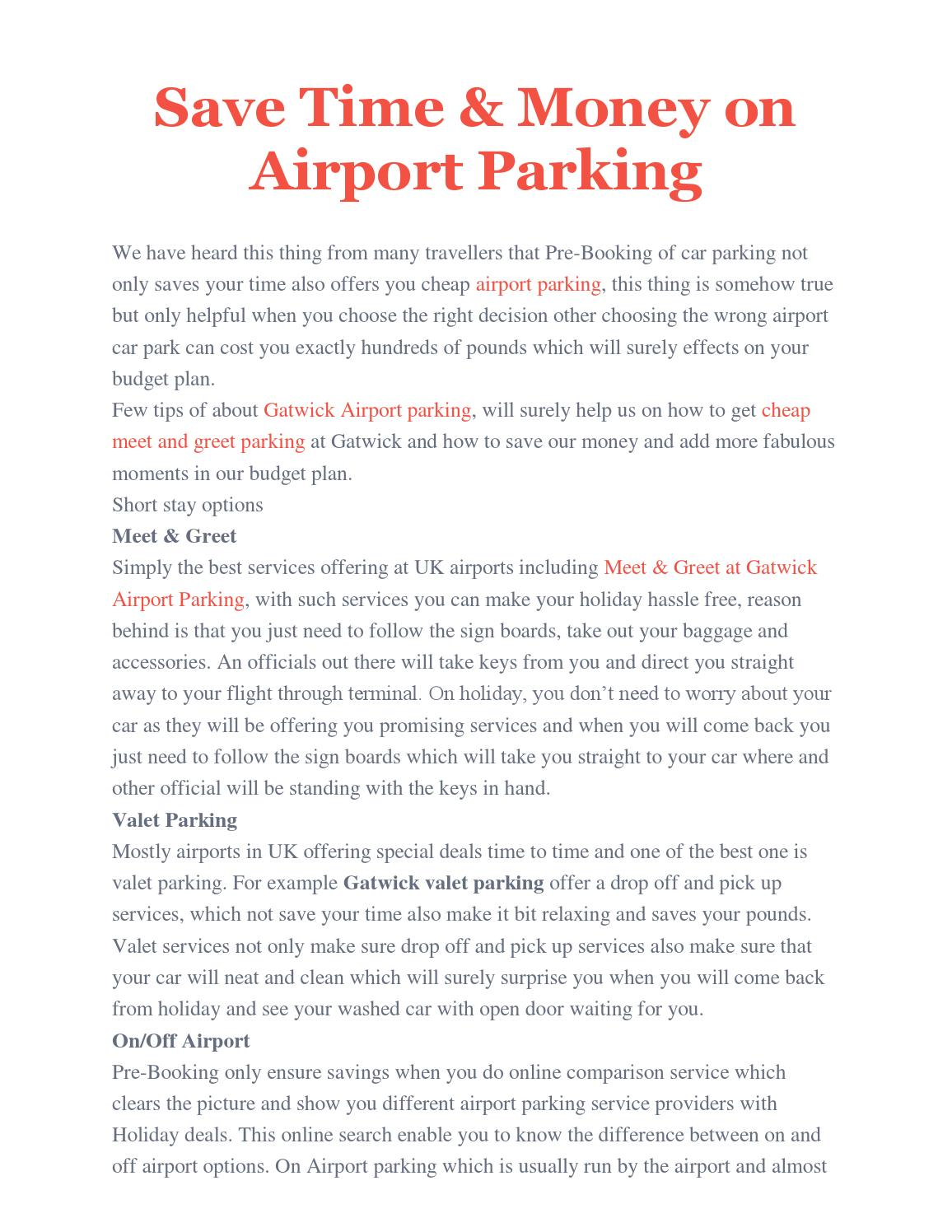 Save Time Money On Airport Parking By London Parking Gatwick Issuu
