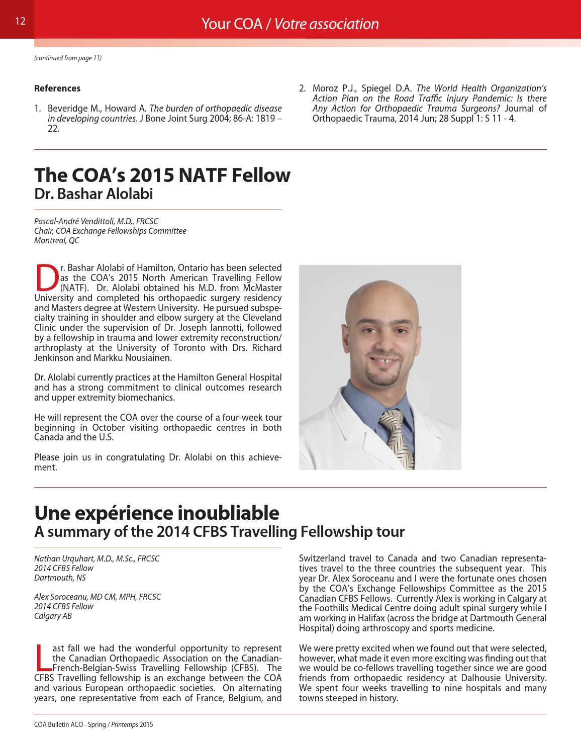 Spring 2015 COA Bulletin #108 by Canadian Orthopaedic Asssociation