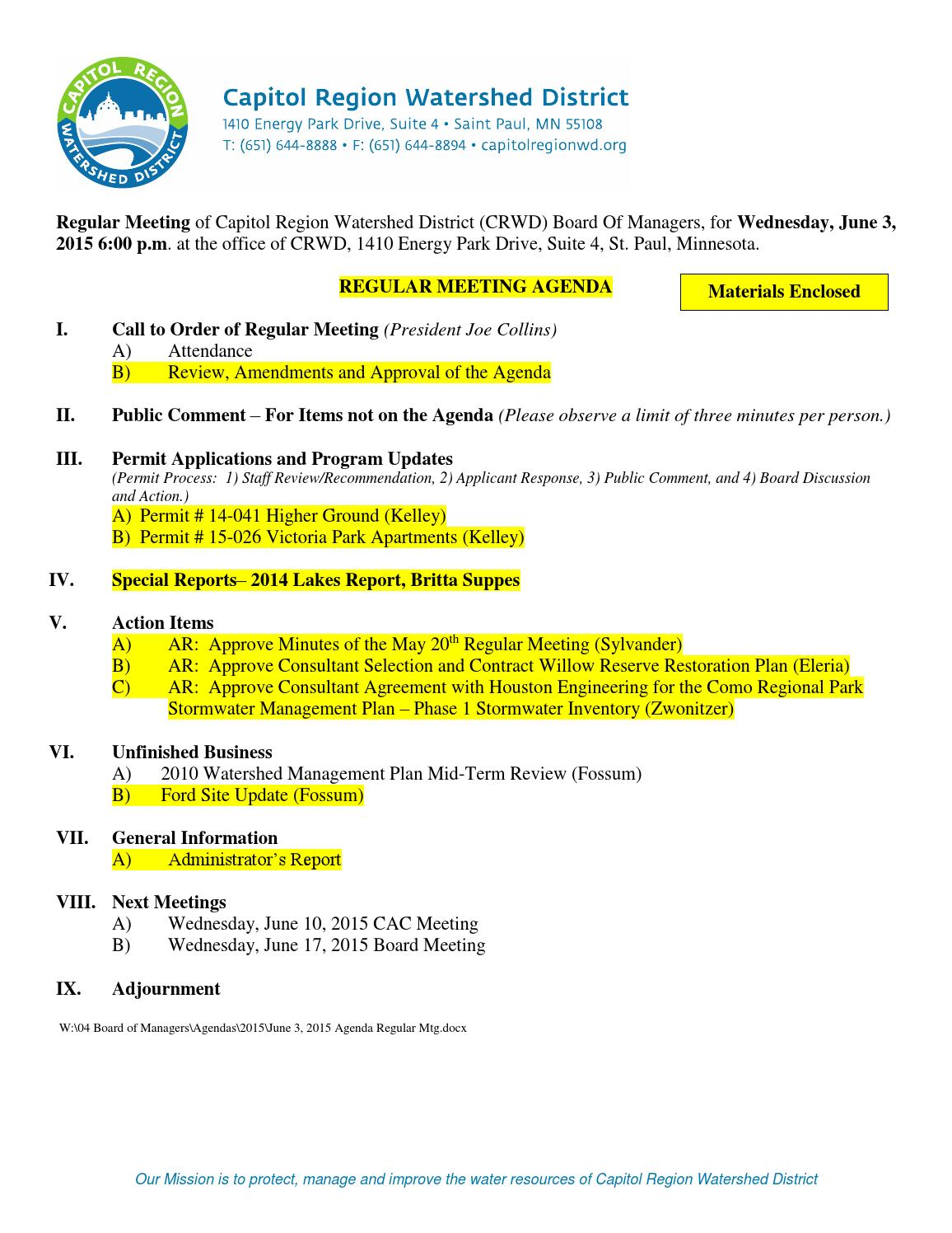 Board of managers packet june 3, 2015 by Capitol Region