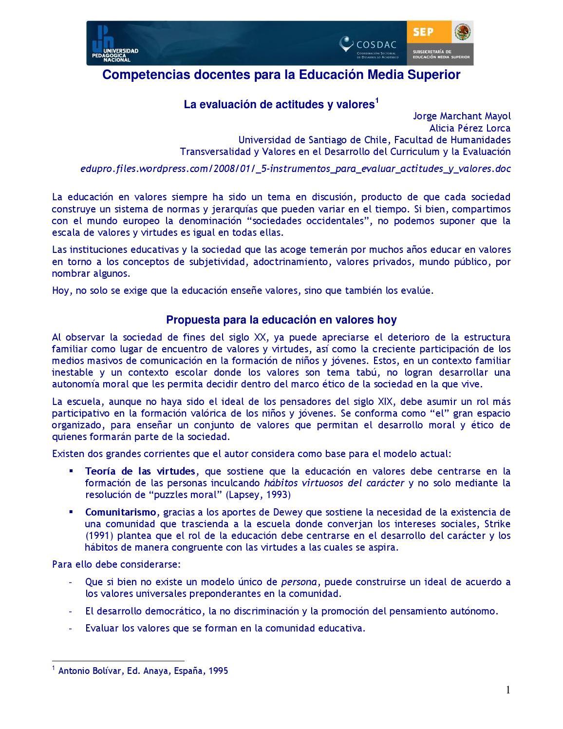 Jmarchant evaluar actitudes by Recursos para la evaluación docente ...