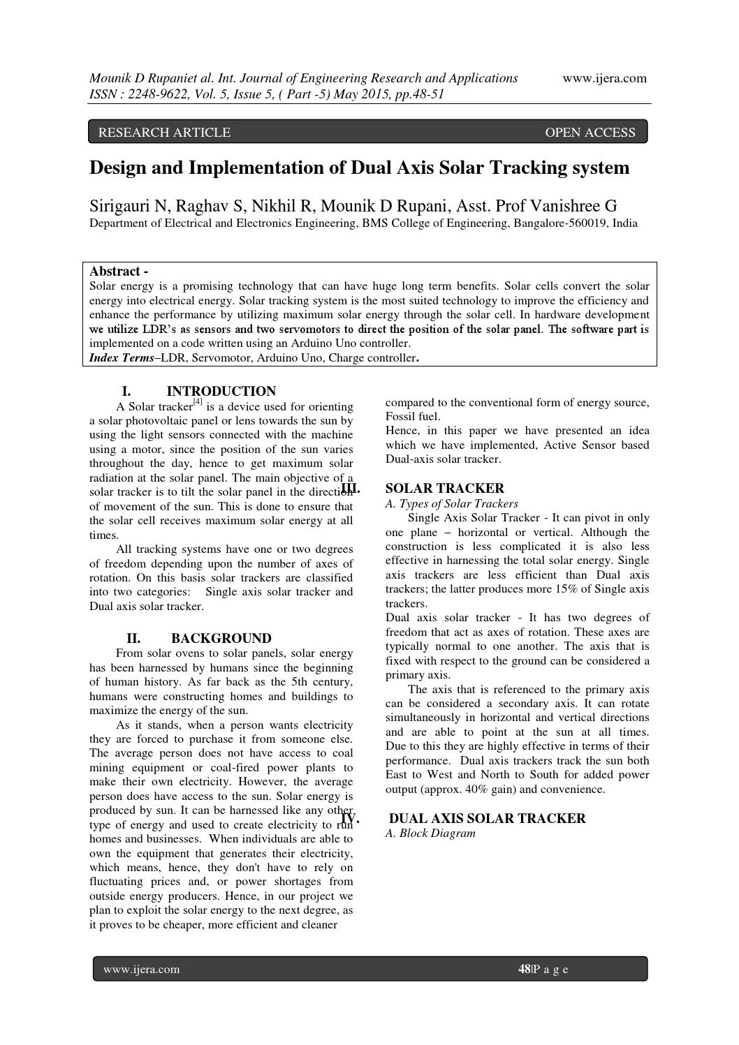 Design And Implementation Of Dual Axis Solar Tracking System By Ijera Editor Issuu